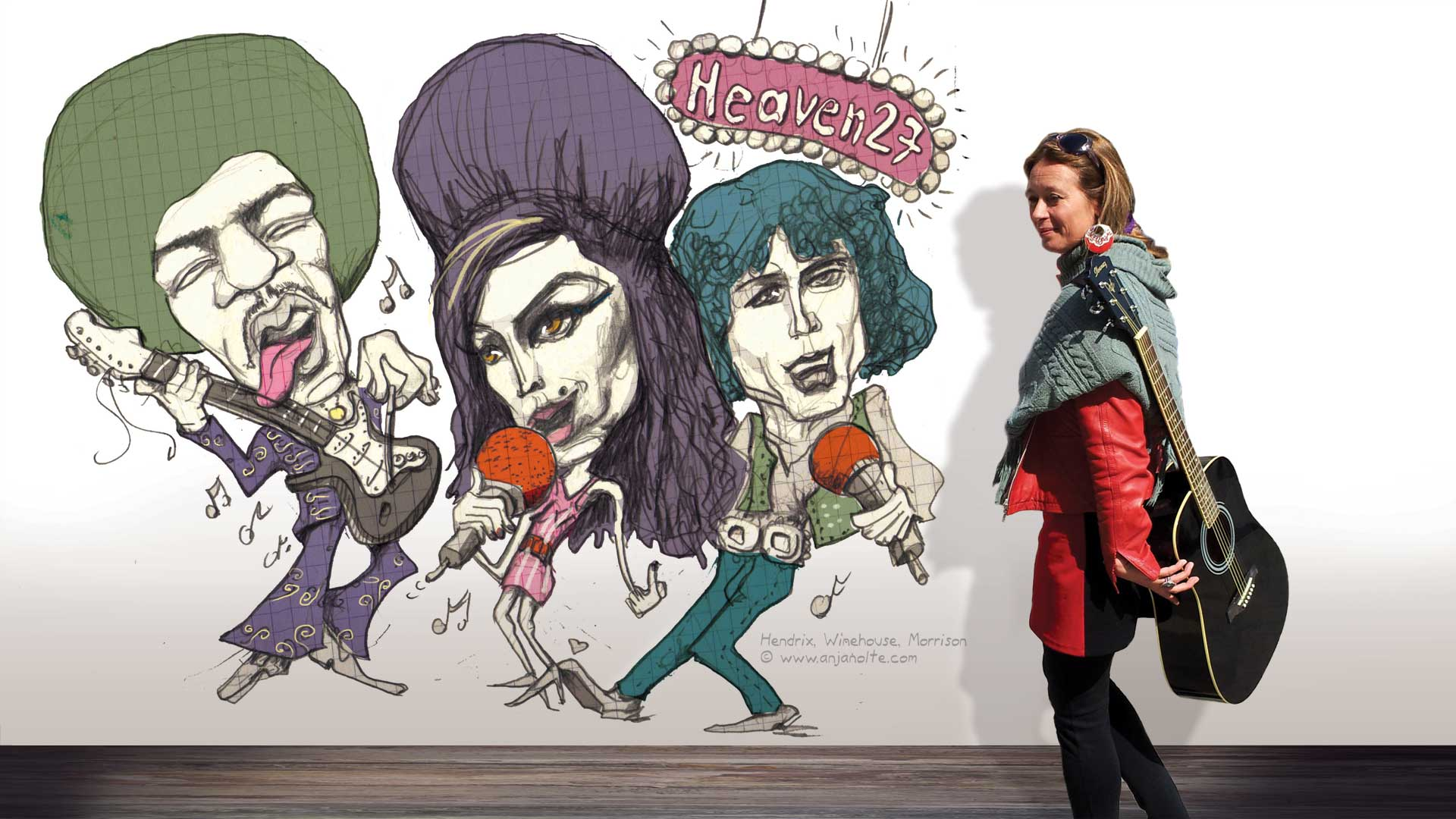 Foto Anja Nolte vor Karikatur Amy Winehouse Jim Hendrix Van Morrison © www.anjanolte.com