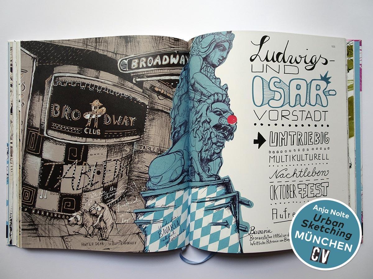 Bavaria München, Kapitelseite Ludwigs- und Isarvorstadt, Zeichnungen aus dem Buch Urban Sketching München von Anja Nolte, erschienen bei Christophorus Verlag © Anja Nolte www.anjanolte.com
