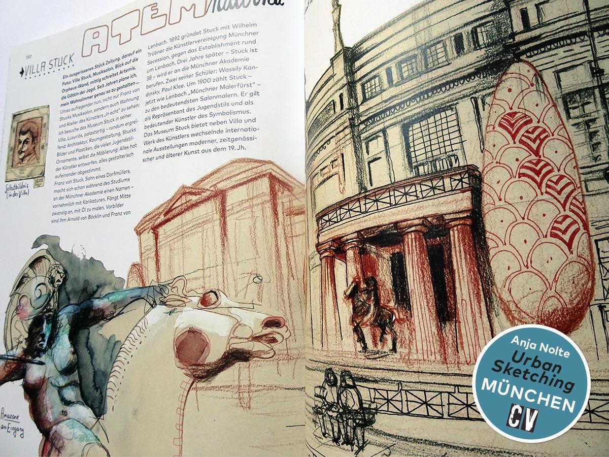 Atemraubend – Villa Stuck in München, Zeichnungen aus dem Buch Urban Sketching München von Anja Nolte, Christophorus Verlag © anjanolte.com