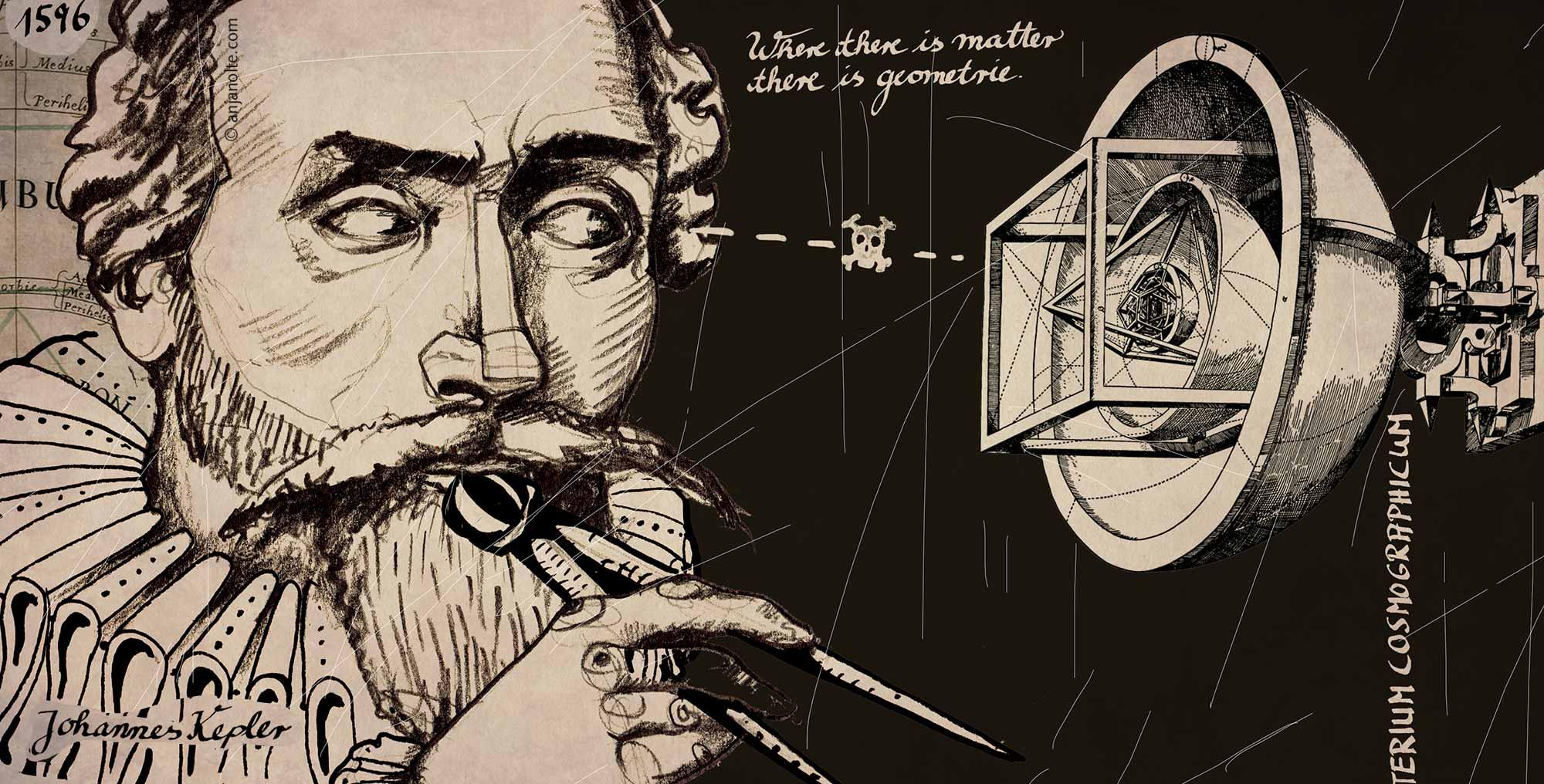 Portrait des Astronoms Johannes Kepler von Anja Nolte i.a. Museum für Kommunikation © www.anjanolte.com