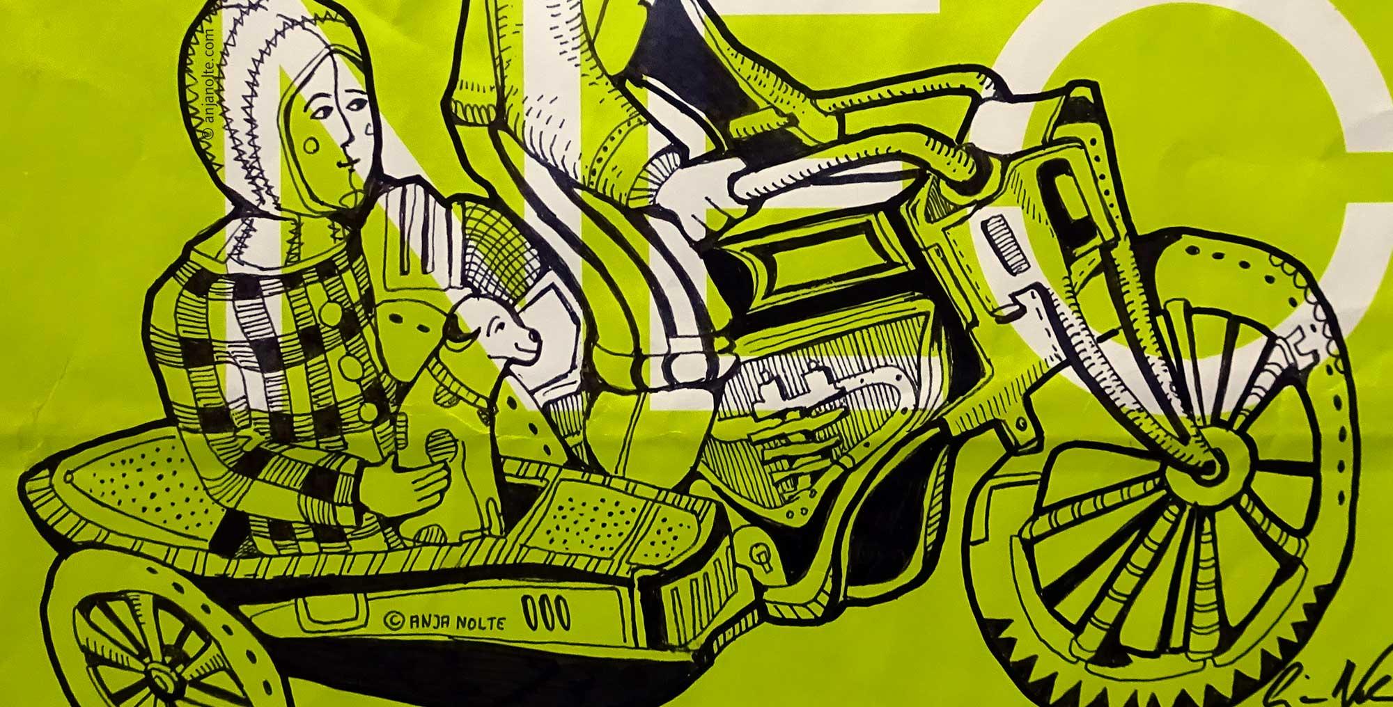 Zeichnung Blechspielzeug Spielzeugmuseum München