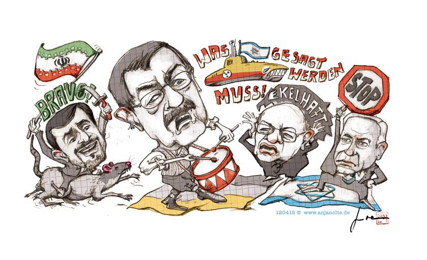 Günter Grass, Ahmadenidschad, Marcel Reich-Ranitzki, Netanjahu, Was gesagt werden muss, © Illustration Anja Nolte