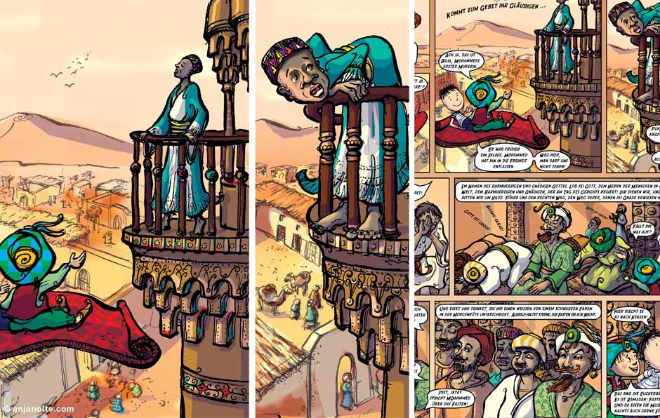 Fotos Paul und die Weltreligionen Islam Comic Grundregeln des Islam und Prophet © Anja Nolte