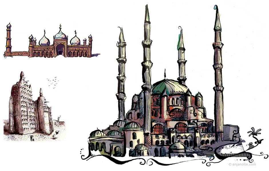 Hagia Sofia Zeichnung zu Islam
