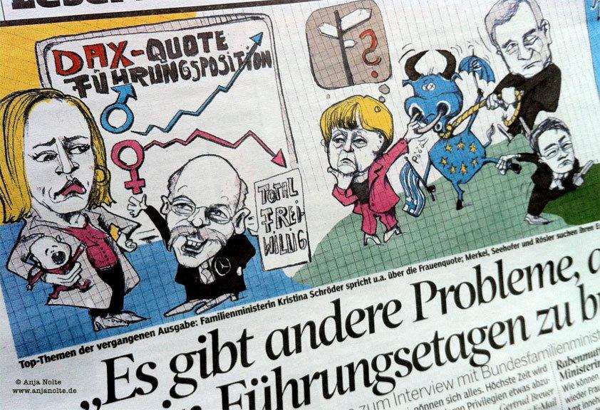 Frauenquote, Zetsche, Eurorettung, Illustration Anja Nolte, Berlin