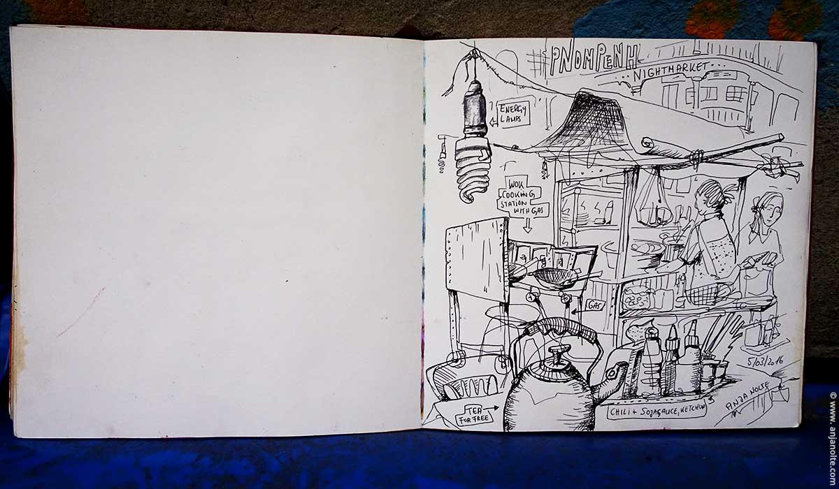 Sketchbook Cambodia Pnompenh