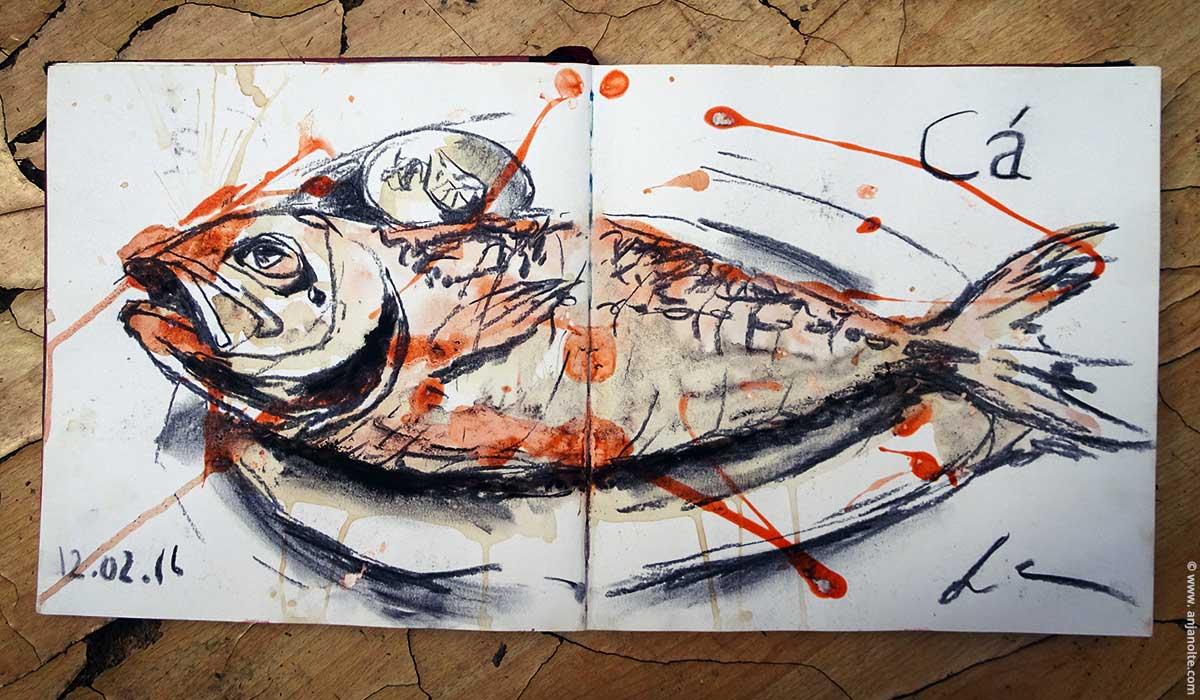 Skizzenuch Vietnam PhuQuoc Fisch