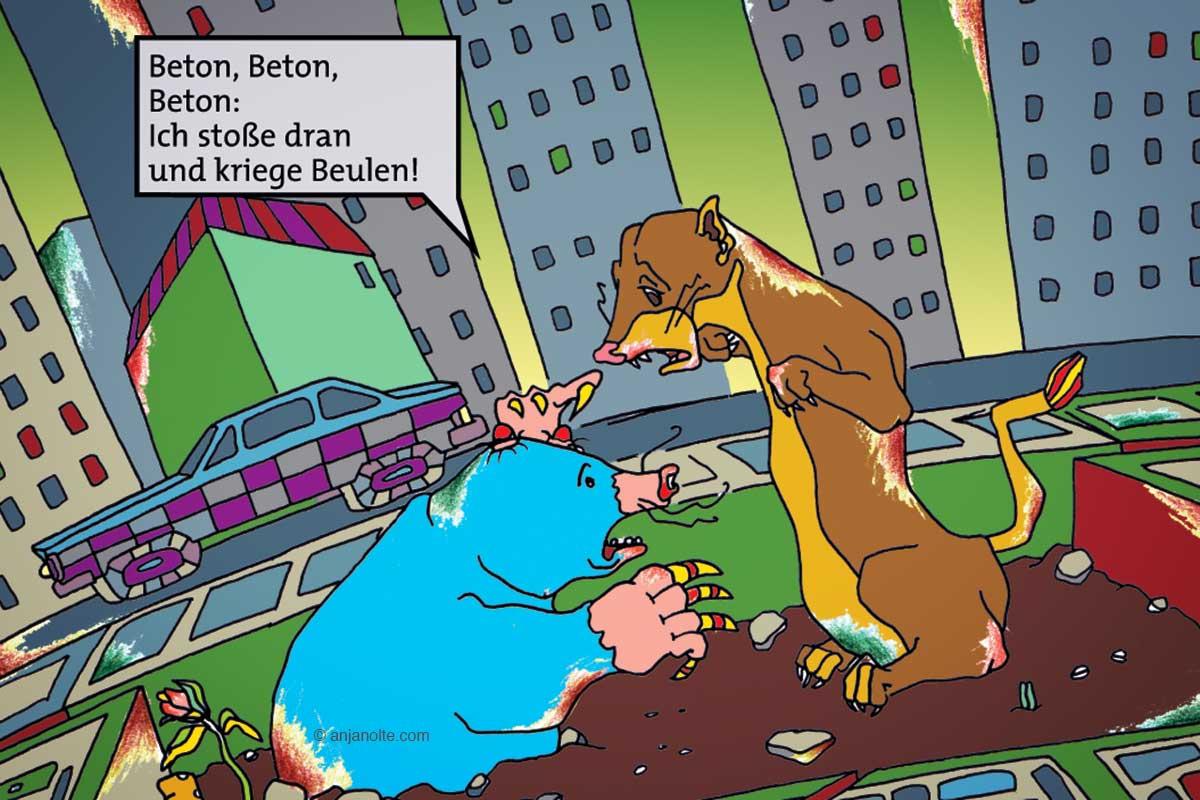 Tribunal der Tiere Comic Detail Tafel 2 Umweltzerstörung Illustration