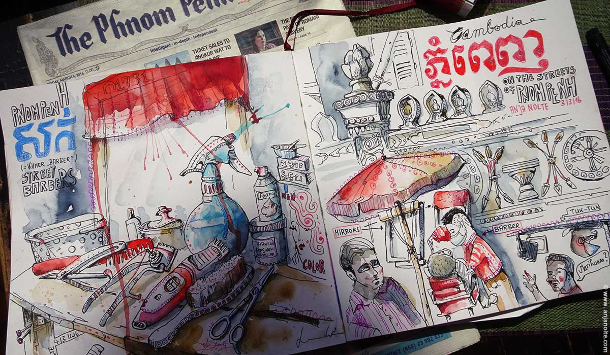travel cambodia pompenh streetbarber sketchbook