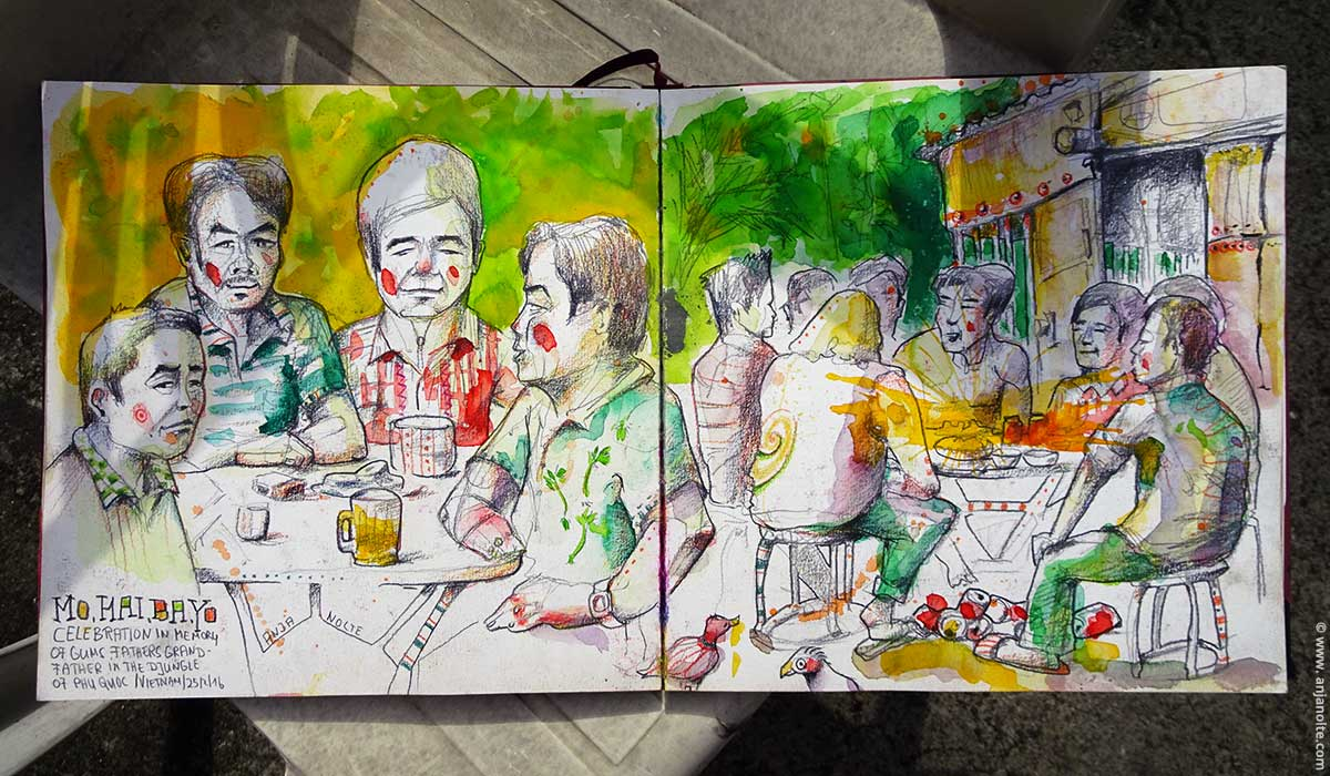 Vietnamesische Familie Feier im Dschungel Skizzenbuch Vietnam