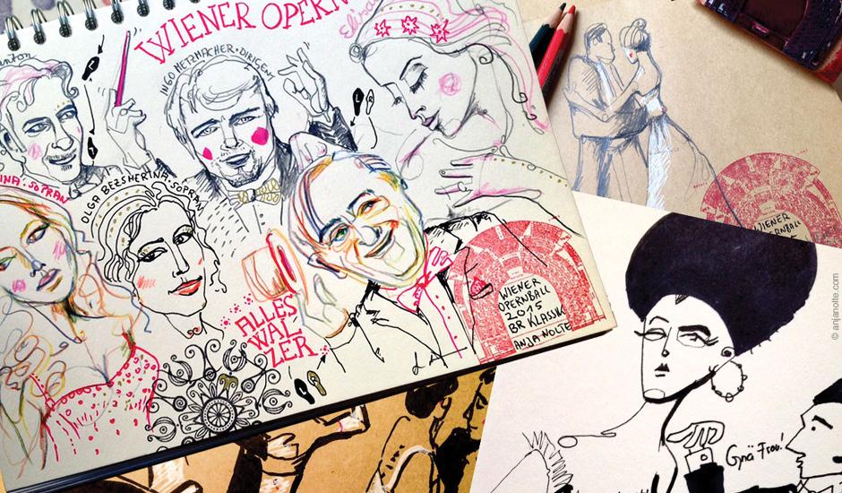 Live-Zeichnen & Bloggen auf dem Wiener Opernball