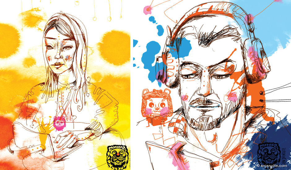 Portrait Live-Drawing © Anja Nolte www.anjanolte.com on Surface Pro , Adobe Creative Cloud, Cannes Lions 2015, Client