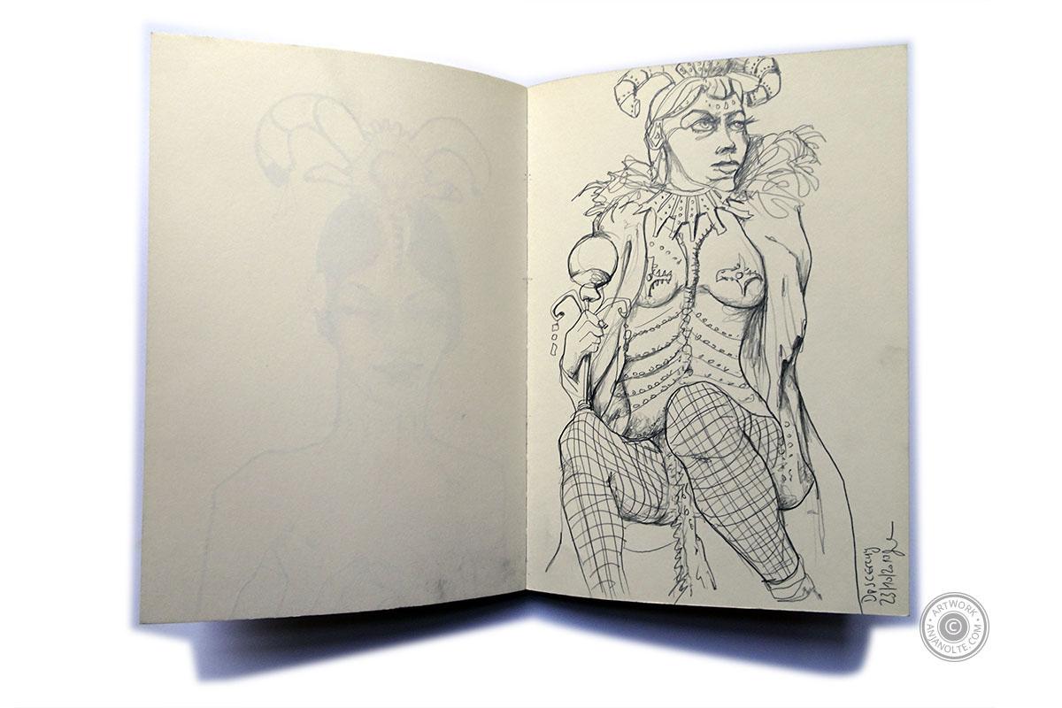 Skizzenbuch mit Cave Woman