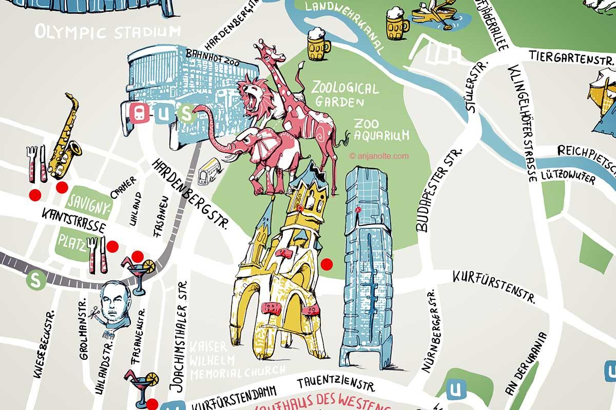 Stadtplan Berlin (Detail) Illustration Anja Nolte © anjanolte.com