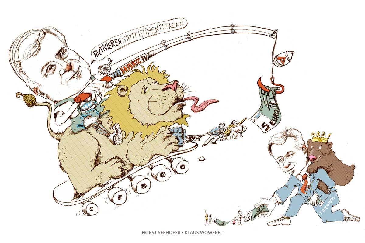 Karikatur Horst seehofer und Klaus Wowereit © Anja Nolte