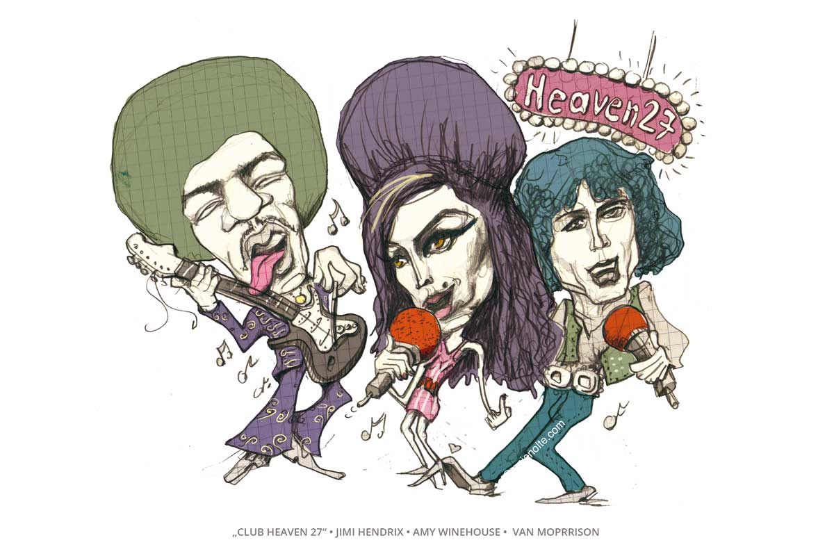 Hendrix, Amy Winehouse, van Morrison Karikatur Anja Nolte