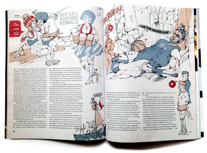 Air Athletica Le Bron und FC Bayern Illustration für Lufthansa Magazin © anjanolte.com