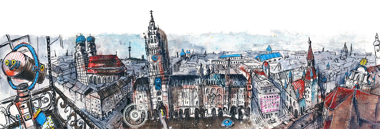 Blick vom Turm des Alten Peter auf den Marienplatz