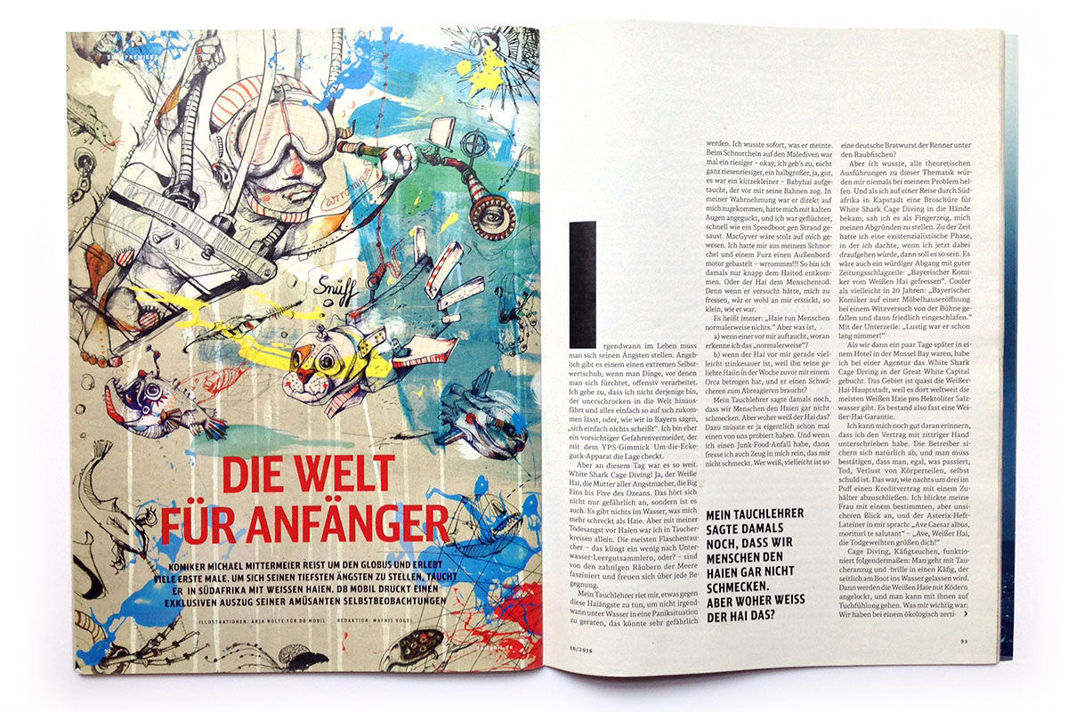 DB Mobil Illustration Anja Nolte Foto Magazinseite