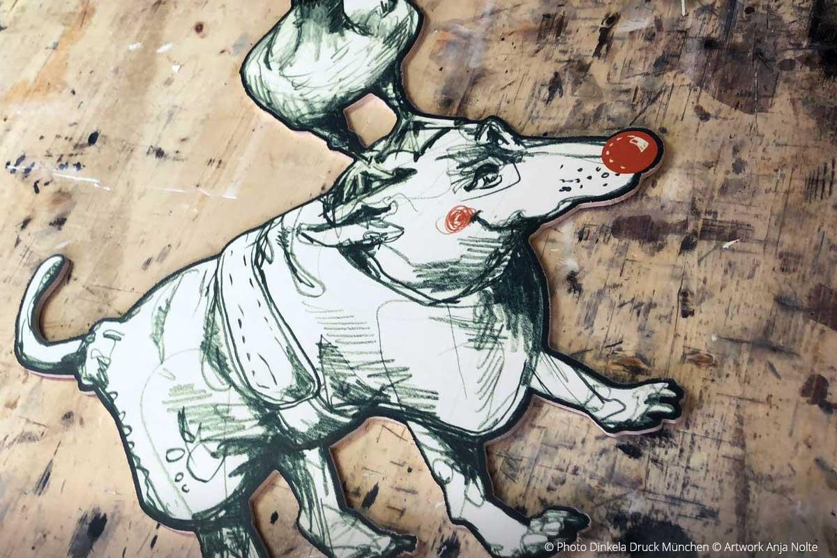 Testdruck Zamperl für späteres Interior Design Artworks Anja Nolte aus Urban Sketching München Druck: Dinkela DRuck München