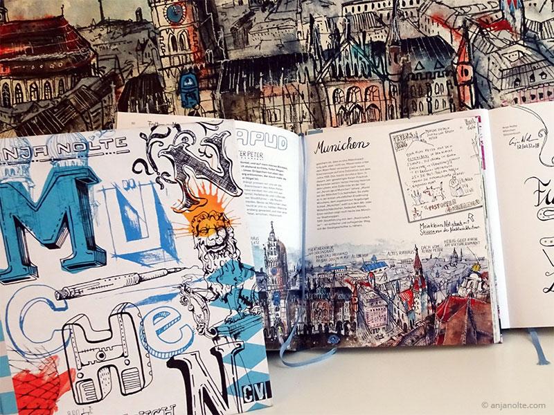 Foto Münchenbuch vor Original Artwork Stadtkulisse