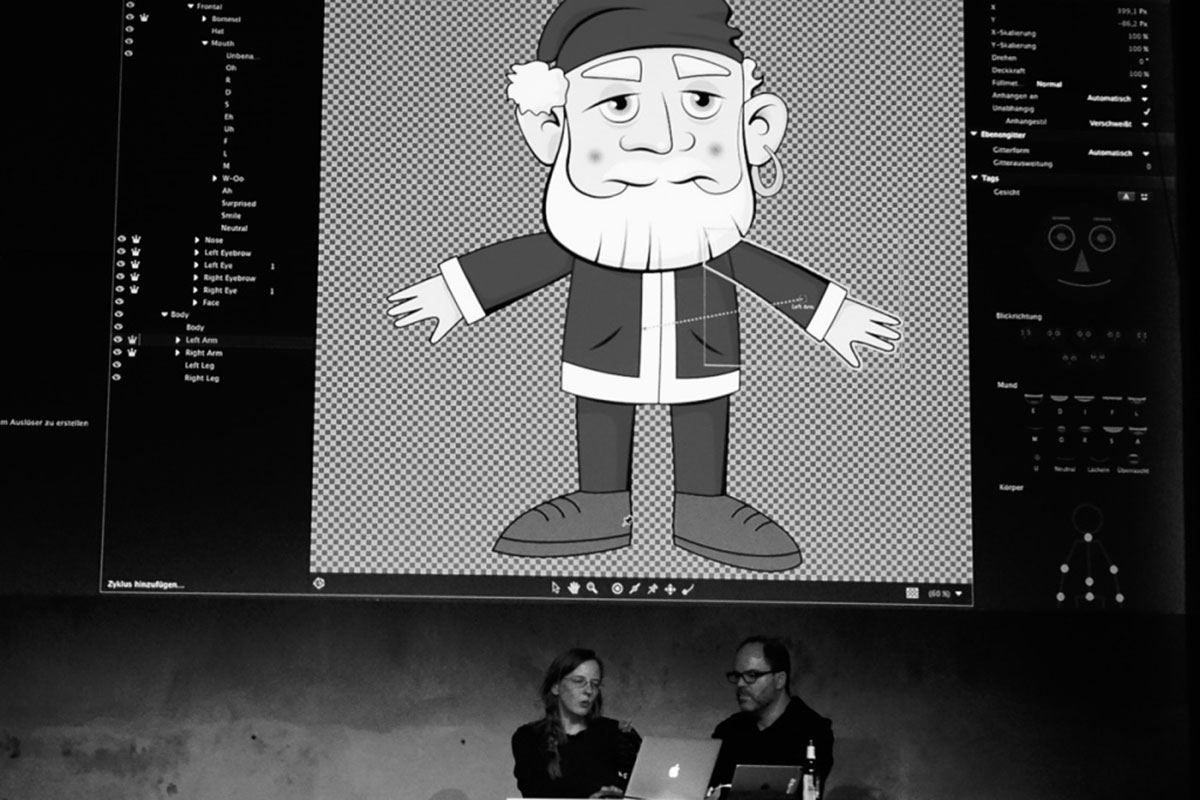 Monika Gause referiert über neue Möglichkeiten bei Character Animator (hier mit INgo Eichel)