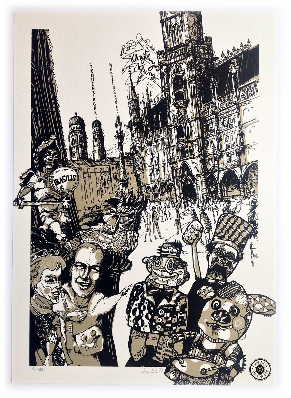 Siebdruck Anja Nolte zu Urban Sketching München shop.anjanolte.com