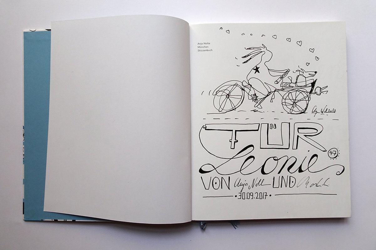 Widmung Lettering mit Zeichnung