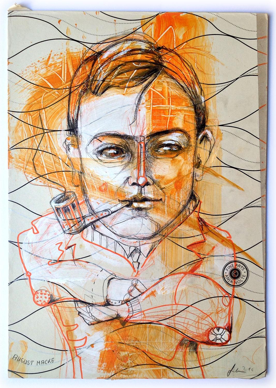 Anja Nolte Portrait August Macke, MIxed Media auf Karton und PVC Folie