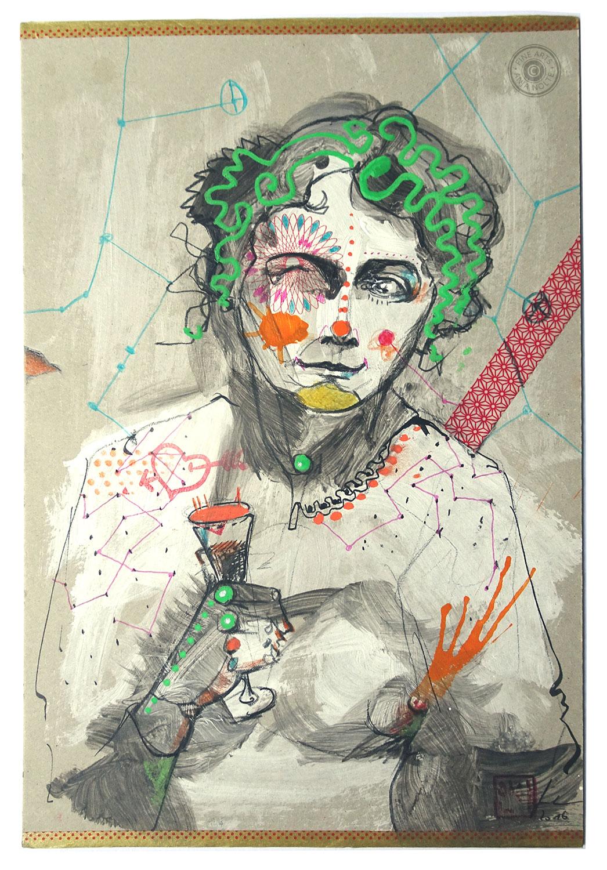 Anja Nolte Portrait der Gabriele Münter, Mixed Media auf Karton