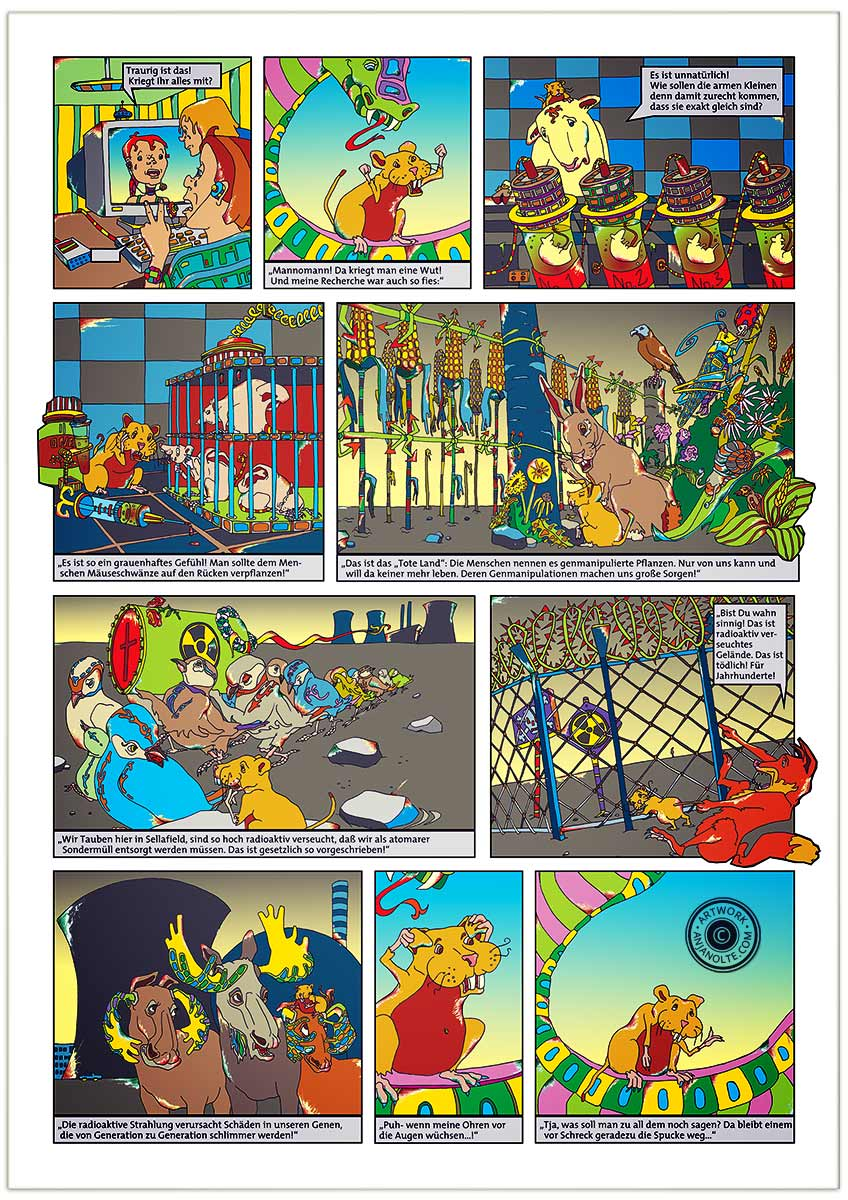 Comic Tribunal der Tiere / Tafel 6 / Genmanipulation © anjanolte.com