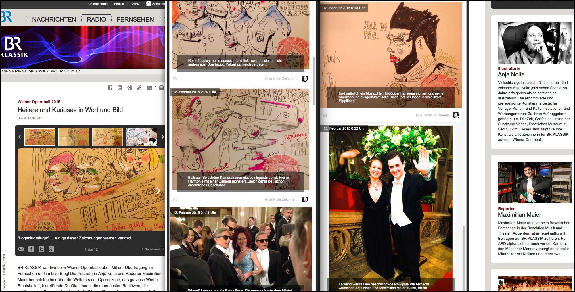 Schnappschüsse Live Zeichnen bloggen Anja Nolte für BR Klassik vom Wiener Opernball © anjanolte.com