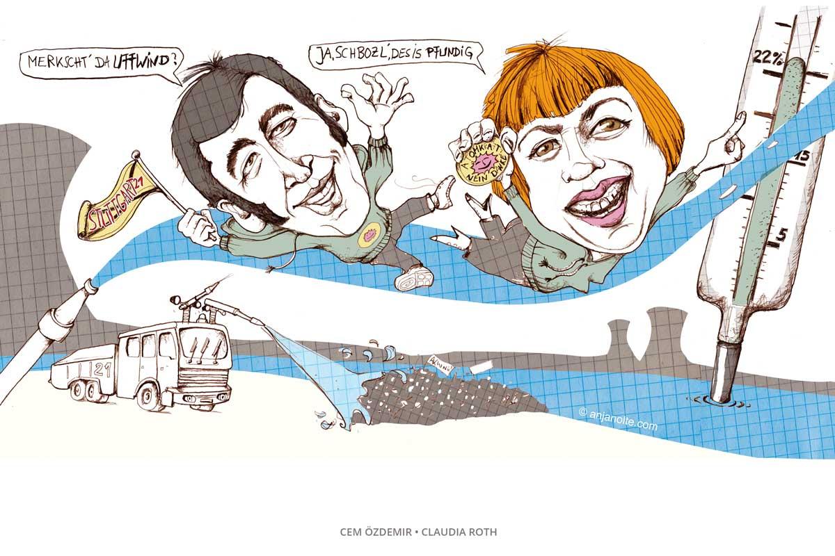 GRÜNE IM AUFWIND CEM ÖZDEMIR CLaudia Roth Karikatur Anja Nolte