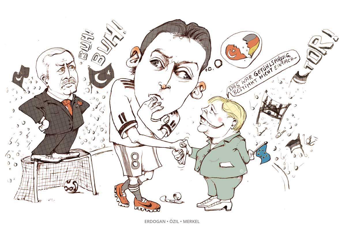 Merkel gratiliert Özil zum Tor für Deutschland. Erdogan is not amused. Karikatrur Anja Nolte