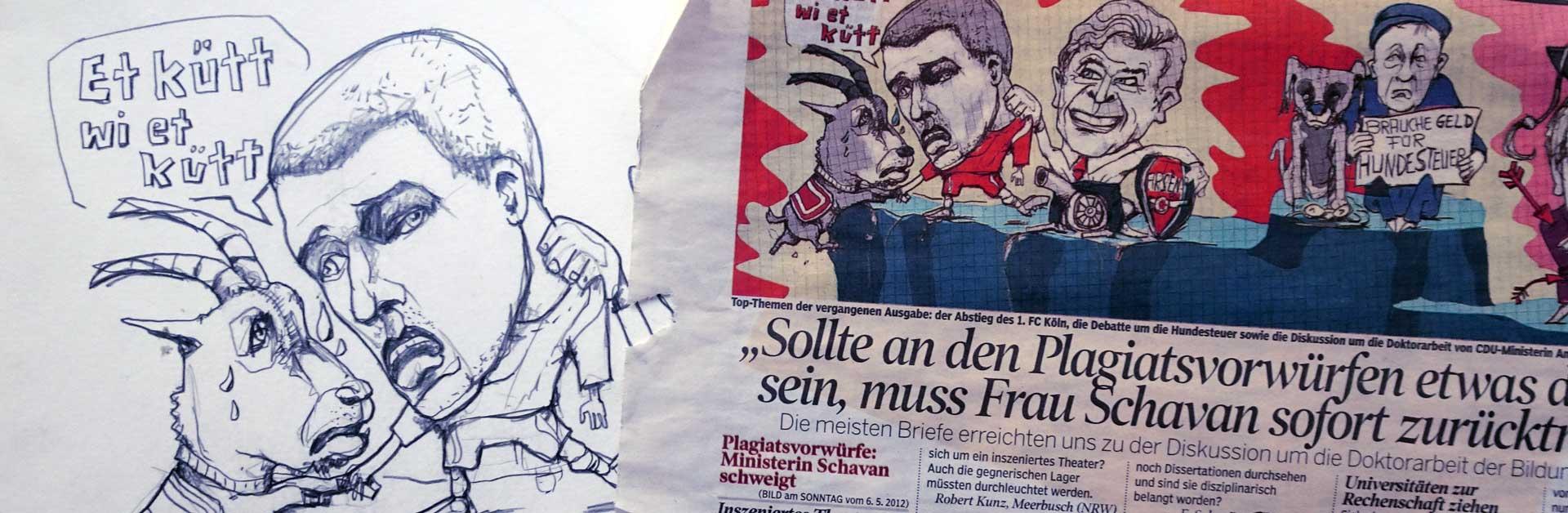 Abstieg 1. FC Köln, Podolski wechselt zu Arsenal, Hundesteuer, Schawans Doktorarbeit Karikatur