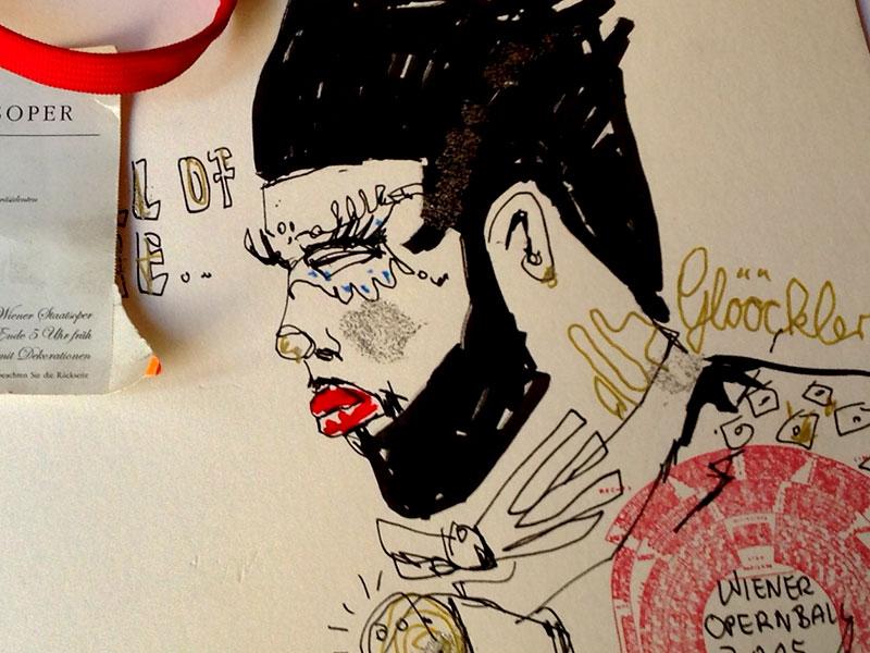 Porträt Zeichnung Glöckler Live Zeichnen Anja Nolte Winer Opernball BR Klassik © anjanolte.com