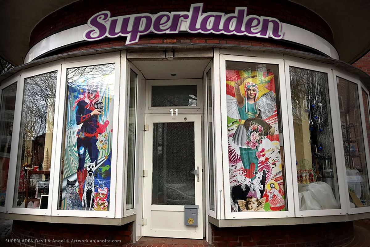 Foto Superladen mit Artwork im Schaufenster Illustration Anja Nolte