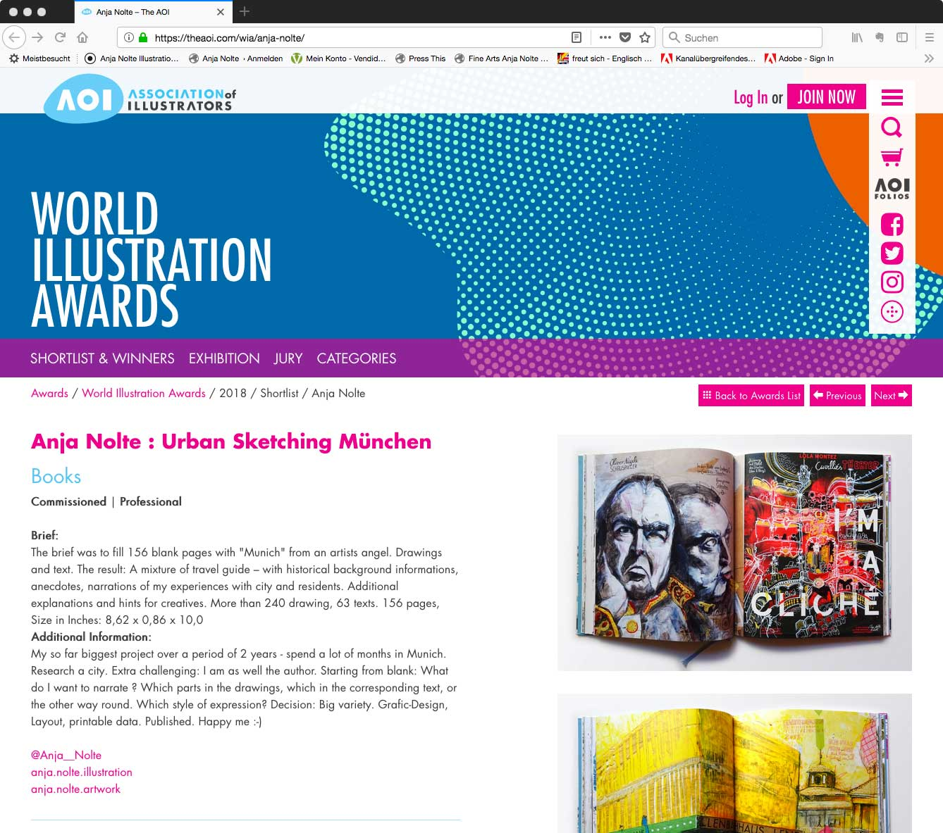 Nomination AOI World Illustrator Award 2018 Anja Nolte Book Urban Sketching München