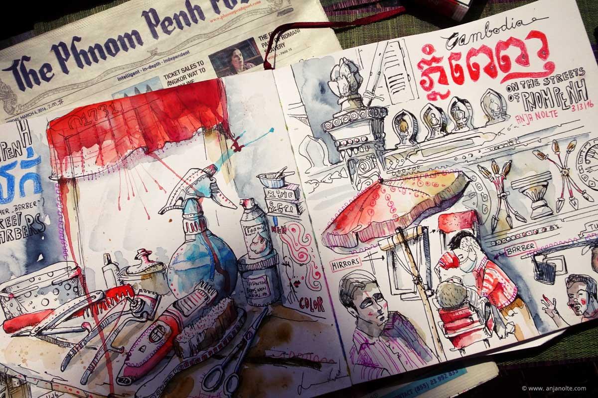 Skizzenbuch Pnom Penh Streetbarber