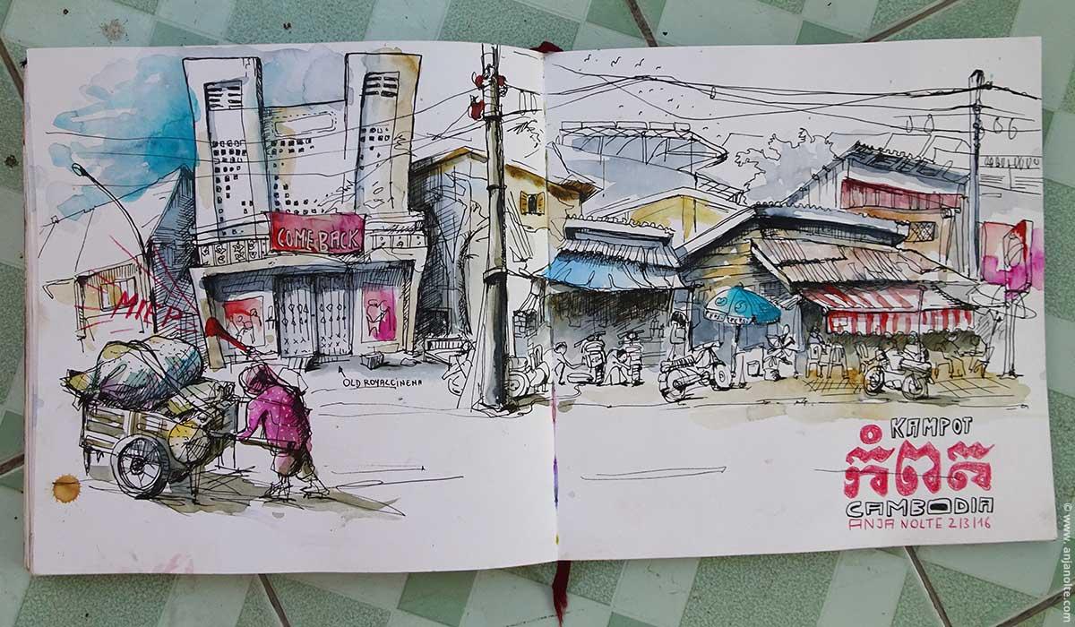 Skizzenbuch Sketching Kampot Campodia