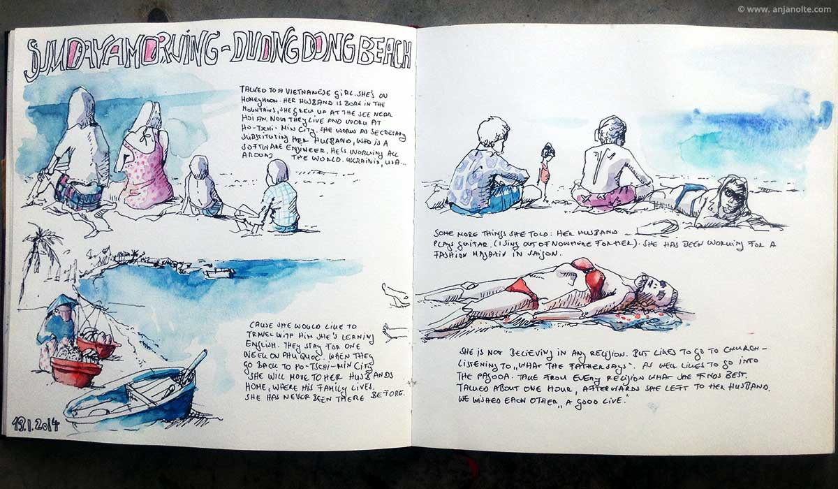 Skizzenbuch Vietnam Duongdong Beach Sketchbook