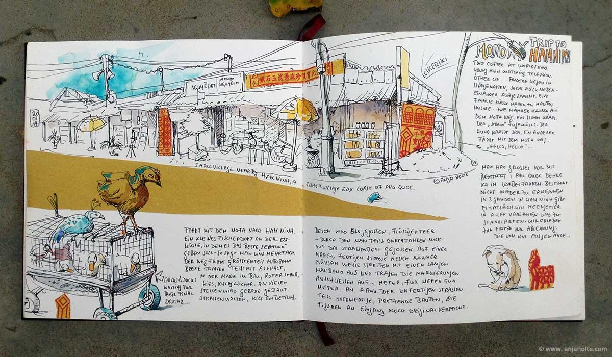 Setchbook Vietnam Phu Quoc Hamnin Reisezeichnung Skizzenbuch