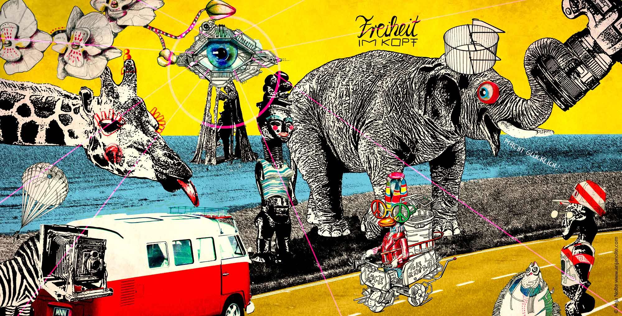 Illustartion zum Thema Sabbatical, Reisen, Afrika mit Giraffe, Elefant, Zebra mit einem Kamerakopf, Ente auf einem Mofa, Afrika Kultfiguren...