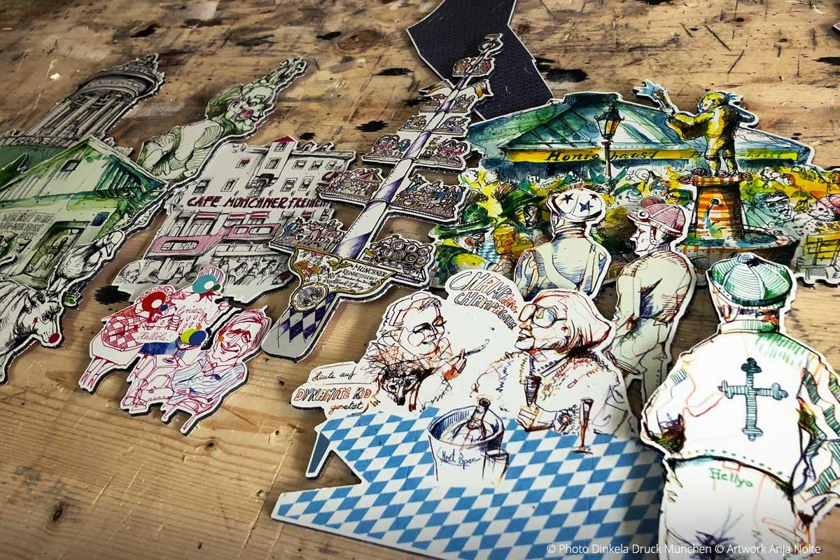 Foto des Testdruck von Minimodellbausatz für späteres Interior Design Artworks Anja Nolte aus Urban Sketching München Druck: Dinkela Druck München