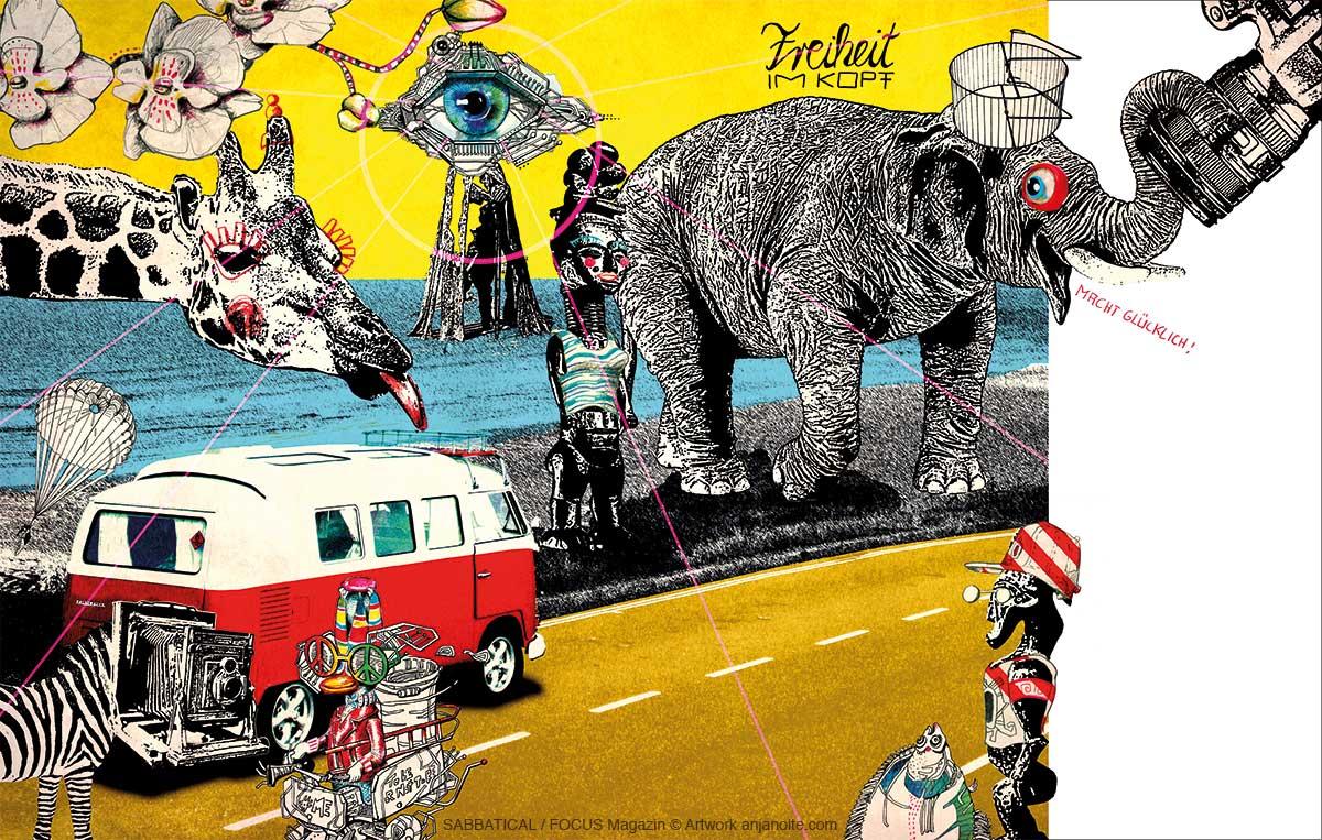 Illustration zum Thema Sabattical. Julian Weisse reiste mit seinem Bulli drei Monate durch Südafrika und unterwickelte unterwegs seine Geschäftsidee: ein mobiles Fotostudio in einem VW-Bulli. Die Illustration zeigt Weisses VW-Bulli, sowie afrikatypisches: Giraffe, Elefant, Zebra mit einer Kamera als Gesicht, afrikanische Götter, Orchidee. Eine Ente mit Peace Sonnebrille fährt auf einem Dreirad.