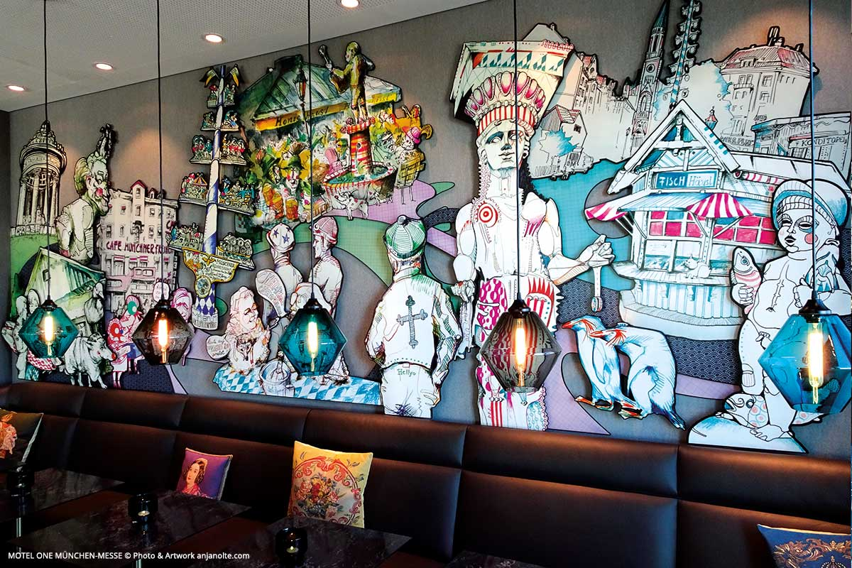 Interior design (area of breakfast) Motel One Munich-fair with artwork from Anja Nolte