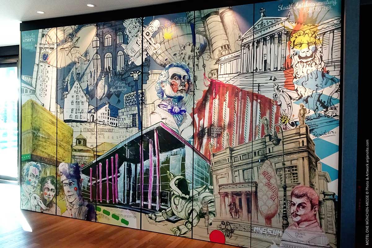 Kunst-und Kulturwand im Motel One München-Messe. Artwork Anja Nolte