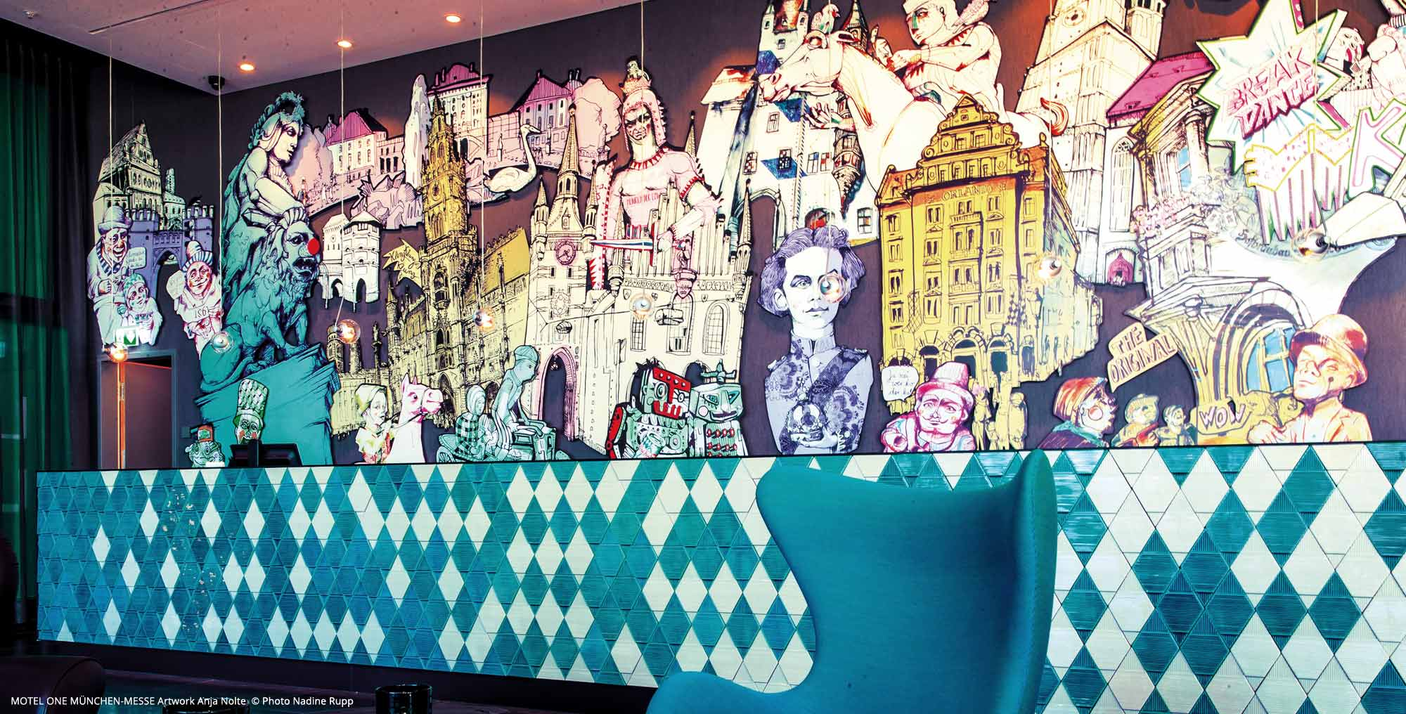 Reception motel one Munich-fair with artworks from Anja Nolte