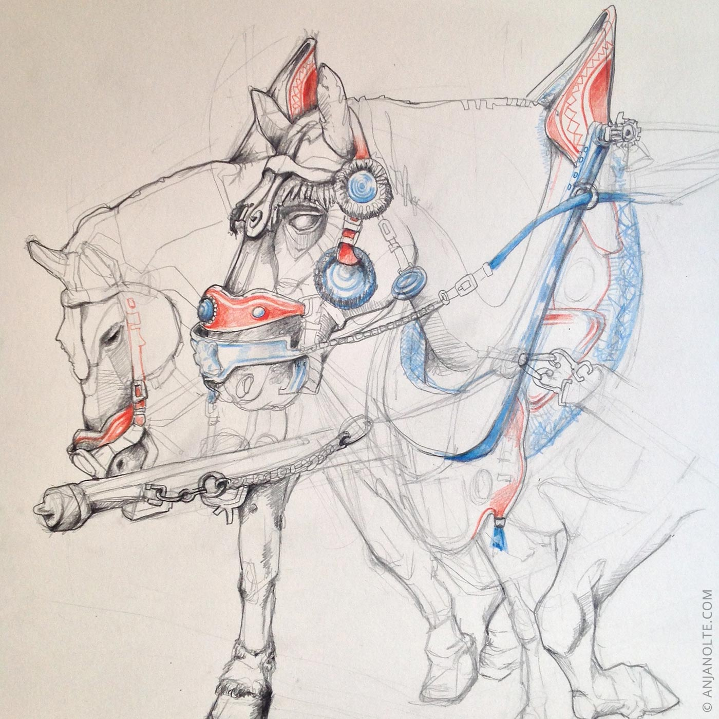 drawing of a team of horses, pencil on paper.