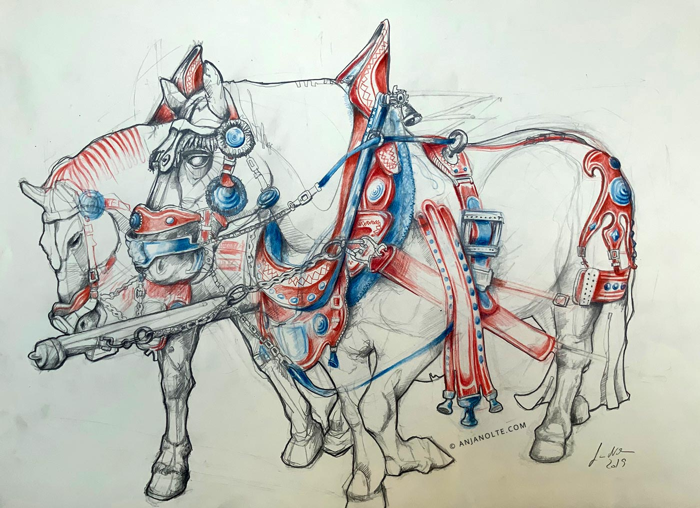 Pencildrawing of a team of horses by Anja Nolte.
